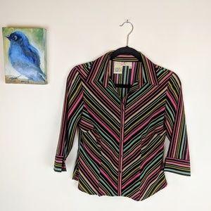 Vintage button down striped blouse, petite sz
